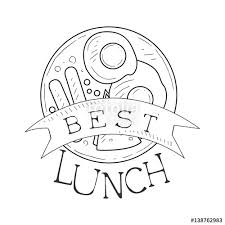 cafe lunch menu promo sign in sketch style with opening hours