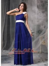 modest royal blue and white empire one shoulder prom dress chiffon