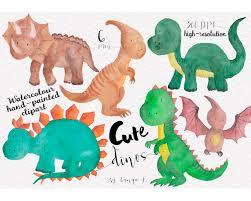 dinosaur clipart watercolour clipart cute clipart by atartdigital