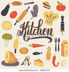 Kitchen Utensils Design by Set Kitchen Utensils Your Design Retro Stock Vector 281674424