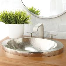 hibiscus 21 inch oval drop in copper bathroom sink native trails