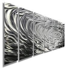 modern silver abstract metal wall art home decor ripple effect