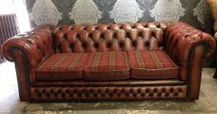 Tartan Chesterfield Sofa Stunning Chesterfield Vintage 3 Seater Sofa In Oxblood Leather
