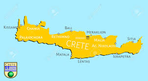 Crete Map Map Of Greek Isle Of Crete Royalty Free Cliparts Vectors And
