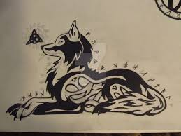 celtic runic triquetra tribal wolf tattoo design by inukurosaki on