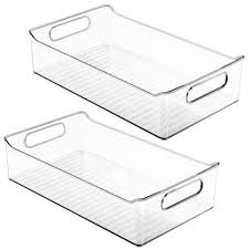 kitchen food storage pantry cabinet mdesign wide plastic kitchen pantry cabinet food storage bin 2 pack clear