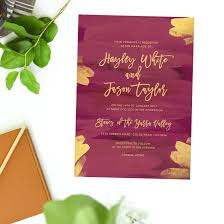 Wedding Invitations Brisbane Plum And Gold Burgundy Wedding Invitations
