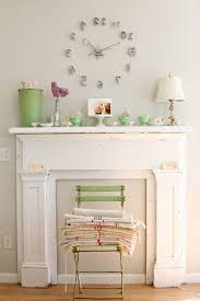 Shabby Chic Style Wallpaper by Green Mora Clock Family Room Traditional With Tan Sectional