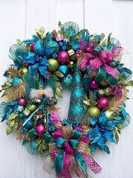 turquoise lime green and pink wreath with