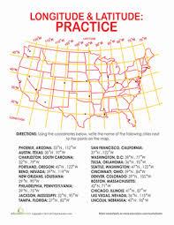 longitude and latitude coordinates worksheet education com