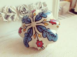 Red Kitchen Cabinet Knobs Blue Leaf And Red Flower Hand Painted Ceramic Pumpkin Knobs