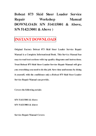 bobcat 873 skid steer loader service repair workshop manual download u2026
