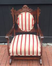 Upholstered Rocking Chairs Victorian Platform Rocker Antique Upholstered Rocking Chair Ebay