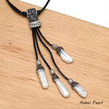 leather necklace design images Aobei pearl latest design pave setting crystal pearl necklace on jpg