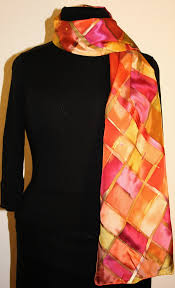 unique hand painted silk scarves and shawls featuring stripes and