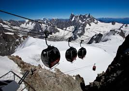 gondola from aiquille du midi france to pointe helbronner in