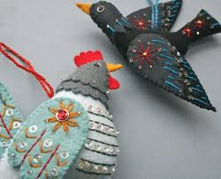 mmmcrafts handmade gifts 2011 hen and colly bird ornaments
