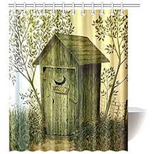 Birdhouse Shower Curtain Amazon Com Outhouses Shower Curtain Country Decor Fabric Shower