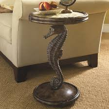 Pedestal Accent Tables Seahorse Pedestal Accent Table With Round Capiz Filled Top By