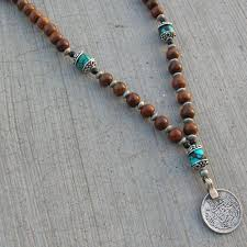 turquoise gem necklace images 108 bead mala necklace or bracelet wood prayer beads with jpg