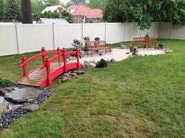 Backyard Sand Gren Brook Nj Backyard Stone Path Bridge And Zen Sand Court For