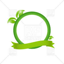 leaf ribbon green eco frame with leaves and ribbon vector clipart image 39004