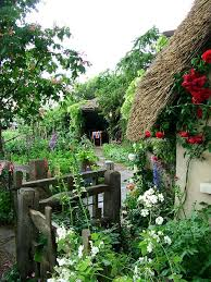 cottage garden ideas in old style and natural wood bridge to make