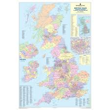 Map Of England And Ireland by United Kingdom And Ireland Map Of Counties Districts Wall Map Mm