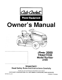 cub cadet lawn mower 2185 user guide manualsonline com