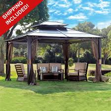Outdoor Patio Canopy Gazebo 10 X 12 Hardtop Canopy Gazebo W Mosquito Netting