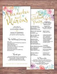 modern wedding program boho printable wedding program wedding program