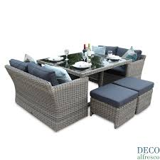 Rattan Patio Dining Set by 8pc High Back Sofa Cube Rattan Furniture Set Natural Deco Alfresco