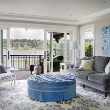 round blue velvet tufted living room ottoman design ideas