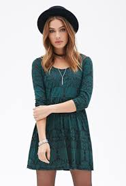 forever 21 baroque mesh babydoll dress in green lyst