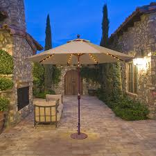 Patio Umbrellas With Led Lights by 936 9 U0027 Auto Tilt With Led Lights Galtech International Market
