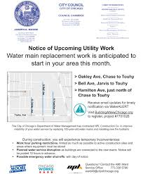 Map Of Chicago Wards by Information On Ward Water Main Work Ward 49
