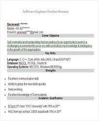 Sample Resume For Software Engineer Fresher by Freshers Resume For Software Engineers