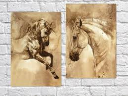 2017 runing horse oil painting for home bar cafe pub wall decor