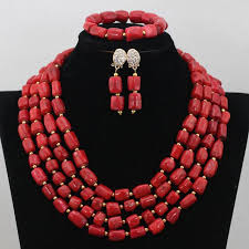 coral beads necklace images Big bold african jewelry set large orange coral bead set african jpg