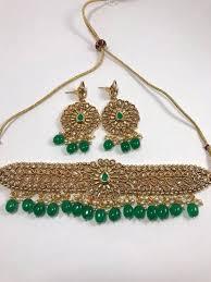 necklace choker set images Green stone choker set fashion jewelry necklace set united jpg