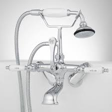 tub wall mount telephone faucet hand shower porcelain lever chrome