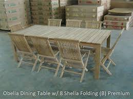 Teak Dining Tables And Chairs Brilliant Dining Table W 8 Folding Chairs At Outdoor Teak
