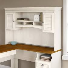 Bush Desks With Hutch Bush Furniture Fairview Hutch For L Shaped Desk In Antique White
