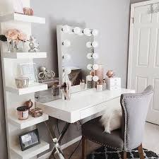 Decoration Ideas For Bedroom White Vanity Dressing Table From Ikea With Hollywood Light Mirror