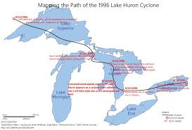 Map Of Michigan Lakes Map Showing The Approximate Path Of The 1996 Lake Huron Cyclone