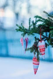Fabric Heart Decorations Christmas Handmade Blue And Red Fabric Heart Decorations With Fir