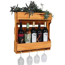wall mounted wine rack with succulent planter gronomics
