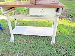 antique butcher block table work bench kitchen island vintage