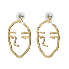 human earrings newest fashion simple abstract earrings for women human