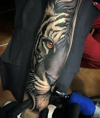tiger eye tiger half half sleeve black and white orange eye